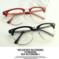 B9 myopia frame fashion eyeglasses plain mirror vintage box big black metal glasses frame