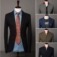 Free shipping 2013 14 New men's Fashion Blazer Casual style  Two buckle slim suit for men 5colors M-XXL   9030
