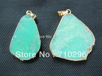 Natural chrysoprase semi stone penant for genuine gem stone jewelrys pendants necklace diy 10pcs/lot Free shipping
