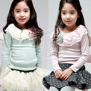 2013 autumn elegant ruffle collar long-sleeve dress girls clothing qz-0439(China (Mainland))