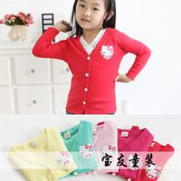 2014 New Autumn 100-140cm Girl Boy Children Solid Cotton Cardigan Outerwear,Children's clothing  5 sizes/lot each color