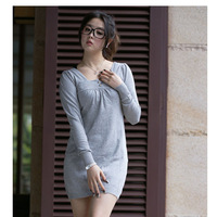 free shipping 128 sweet square collar before and after two ways medium-long knitted sweater dress  wrsc