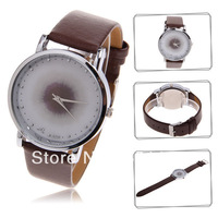 Free Shipping Unique B840 Round Dial Dots Numerals Hour Marks Leather Wristband Watch
