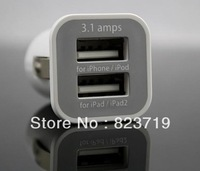 Double USB Port Micro Car Charger For IPhone 5 5G 4 4S IPad 3 4 Samsung Galaxy S3 Dual Power Adapter Adaptor 3A 3.1A dhl 100PCS