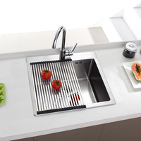 stainless steel single sink for kitchen vegetables washing sink handmade brushed sink with Spillway hole