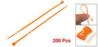 200 Pcs Adjustable Self Locking Nylon Cable Zip Ties Orange 2.5mm x 150mm