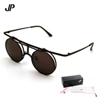 2013 Retail Free Shipping the newest Punk Sunglasses women sunglasses metal frame round glasses  Flip glasses Multicolor UV 400