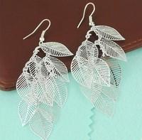 Min order is $9 Fashion silver plated hollow leaves drop earrings leaf metal earring