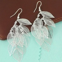 Min order is $9 Fashion silver plated hollow leaves drop earrings leaf metal earring 249