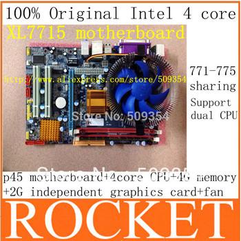 Mother Board Hot! Desktop Motherboard+4core(2.80ghz) Cpu (5462) Processor High Speed 12m+graphics Card 2g+quiet Fan+4g Memory
