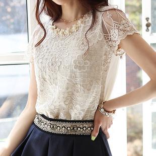 Best Selling!2013 Women's Chiffon shirts plus size white lace short