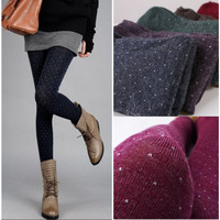 Plus size women's polka dot round dot wool blending autumn and winter thickening step pantyhose legging ankle length trousers