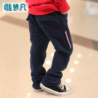 Sunfed children's clothing male child 2013 autumn trousers fleece casual pants trousers child