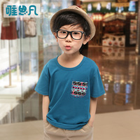 100% child cotton short-sleeve T-shirt sunfed children's clothing child summer male 2013 top child casual T-shirt