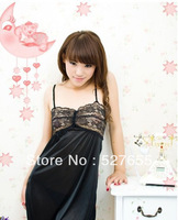 New Black Chiffon Sexy Lingerie Braces Skirt Dress+G-STRING Hollow out Nightwear nyQQ200