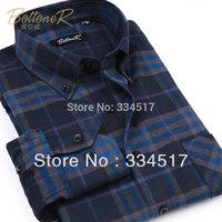 Free shipping fashion casual long-sleeved shirt Men's Brushed plaid shirt Brushed containing 46.5% high-quality cotton shirt