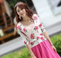 2013 autumn Korean version of the thin shell clasp Rose Print Rose Long Sleeve V-neck sweater cardigan sweater air conditioning