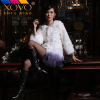 Xuehu full leather wool berber fleece gradient color fox fur coat medium-long female
