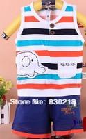 Free Shipping  QW52 baby boys  Wide shoulder stripes elephant infant cotton vest two-piece sets  children's clothing kis