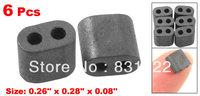 6 Pcs 6.5mm x 7mm x 2mm EMI Control Double Hole Magnet Ferrite Beads
