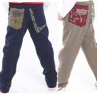 Primary school students 2013 autumn trousers large male child thin plus size plus size sports trousers 100% cotton