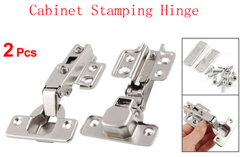 2 Pcs Silver Tone Furniture Closet Cupboard Cabinet Stamping Hinges