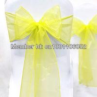 "Free Shipping--25pcs Yellow 8"" (20cm) W x 108"" (275cm) L Sheer Organza Sashes Wedding Party Banquet Chair Organza Sash Bow"