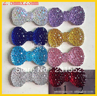 free shipping,23mm kawaii mixed lot flat back resins bow glitter diy cabochons for hairbow,Dust plug phone decoration