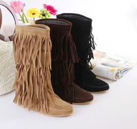 Women's 3 Layer Fringe Tassels Flat Heel Boots Decoration Mid-Calf Slouch Shoes 4 Sizes free shipping