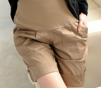 Summer maternity shorts pants/trousers, pregnant short trousers home wear,Elastic waistline Pregnant girl m-xl black khaki