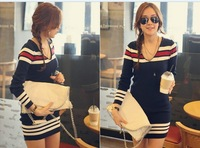 2013 New Women's Free Shipping Color Match Stripe V-Neck Sweater Dress Deep Blue  SW11091907