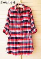 2013 autumn loose plus size 100% cotton design long plaid shirt long-sleeve shirt women's