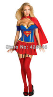 Free Shipping Classic Halloween Costumes 1 set  Sexy superwoman cosplay uniform dress