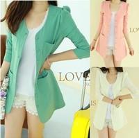 New arrival 2013 Spring Women candy color Single Breasted Slim Casual Jacket/long sleeve elegant career vintage blazer TBN01