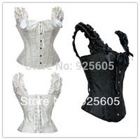 Free P&P 2 colors,Wholesale Corset+G String Set,Sexy Shaper for women,steel boned Stripe Bowknots Bustier Size:S-2XL 5810