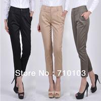 2013 new fashion Europe/America elastic cotton mid-waist straight leg casual office lady's women's pants  trousers capri