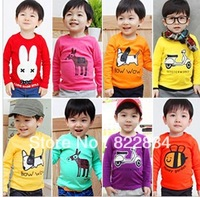 Candy Color Children's Clothing Girls and Boys T shirt Cartoon Long-sleeve  Basic shirt