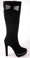 free shipping 2014 newest designed red bottom knee high black suede boots made in China bowtie and reviets deco