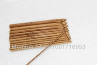 "Free Shipping Bamboo Crochet Hooks Bamboo Knitting Needles 5.9"" 12 pcs Sizes(3-10mm)"