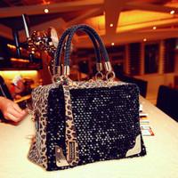 Free shipping 2012 women's paillette sequin handbag black bag fashion brief shoulder bag  cartera bolsa