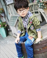 free shipping! 2013 new children's wear kids coat in the spring and autumn outfit boys  army Green jacket