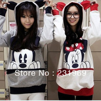2013 autumn and winter Mickey Mouse sweatshirt hooded cartoon MICKEY hoody lovers shirt 1185