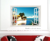 Wholsale Outside The Window Large removable wall sticker,Photo wall,the television background wall ,Safe non-toxic,Free shipping