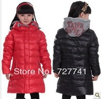 2014 New Children girls winter warm long down jacket coat outwear kids thick Parkas coats with fleece clothing