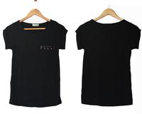 Summer fashion street wind rivet rock and roll sleeve all-match modal cotton short-sleeve black female t-shirt