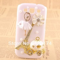 3D Handmade Dancer Girl Eiffel Tower Design Rhinestone Cover Case Hard White for Samsung Galaxy S3 III I9300