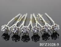 Shiny Crystal Rhinestone Silver Flower Hair Pin Party Wedding Hair Clips Decoration