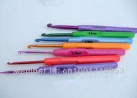 Free Shipping Colourful Plastic Handle & Aluminum Crochet Hooks Knitting Needles 7 pcs 2.0-5.0mm