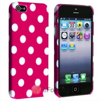 Cute Design Hot Pink POLKA White DOTS Hard CASE COVER FOR APPLE IPHONE 5 5G LTE