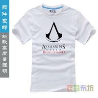 Free shipping short T-shirt top tee assassins creed brotherhood logo men tshirts Primer shirt 100% cotton O-neck